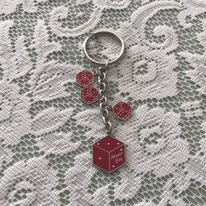 SILVERTONE KEY RING OR PURSE JEWELRY RED DICE